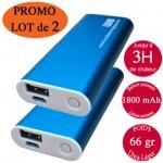Lot promo 2 Chaufferettes électriques de poche rechargeables usb bleues