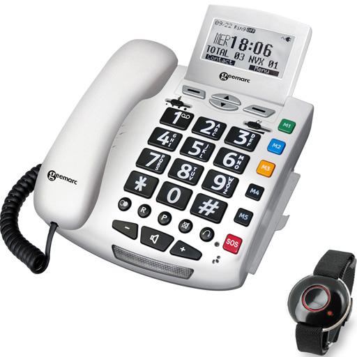 Téléphone Fixe son amplifié + télécommande appel d'urgence