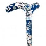 Canne Réglable Design bleue fleurs blanches