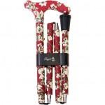 Canne Pliante Réglable aluminium motifs fleurs fond rouge