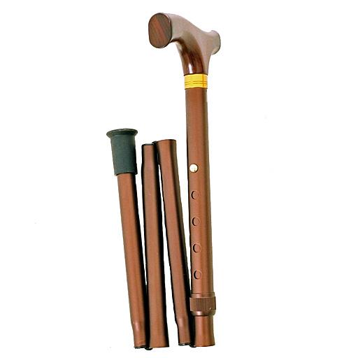 Canne Pliante Réglable bois et bronze clair