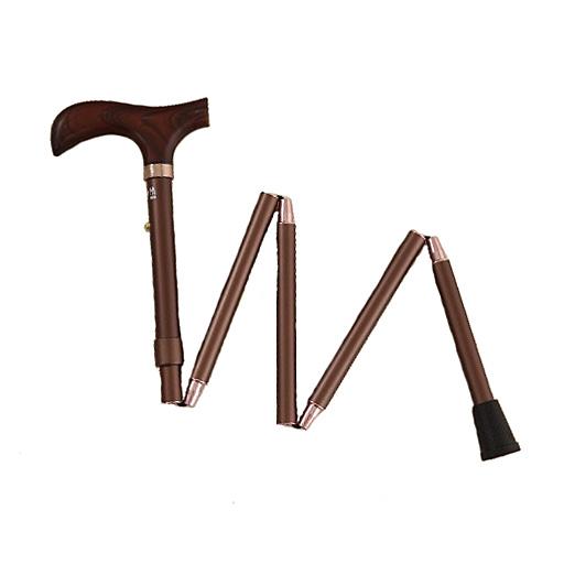 Canne Pliante Réglable bois et bronze foncé
