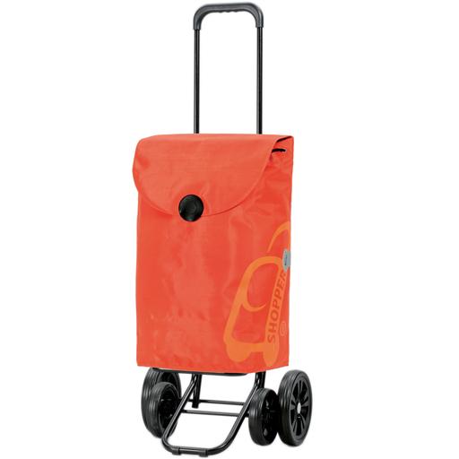 Chariot de Courses Orange 49L 4 roues Appui Stable