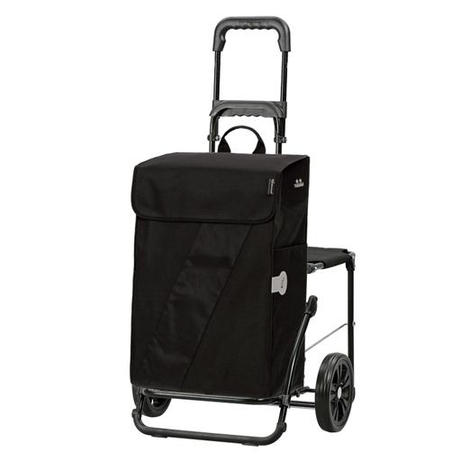 Chariot de courses 49 litres isotherme siège pliant noir
