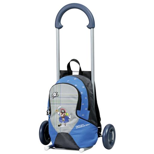 Cartable à roulettes sac à dos amovible bleu 10 litres