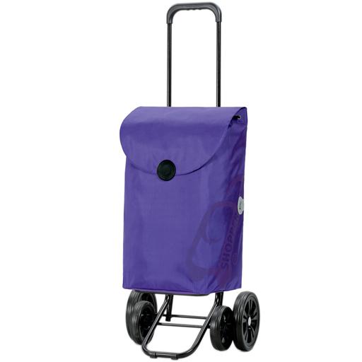Chariot de Courses Violet 49L 4 roues Appui Stable