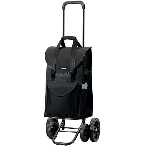Chariot de Courses noir 48 litres 4 roues Appui Stable