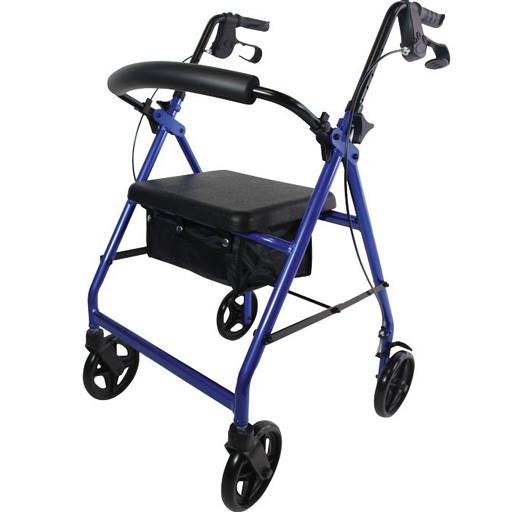 Rollator déambulateur 4 roues siège repos freins et panier souple étanche