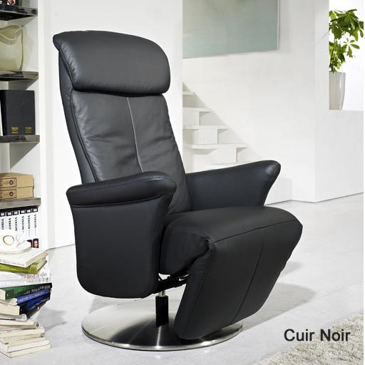 Fauteuil relax cuir manuel de luxe design contemporain - Fauteuil relax cuir design ...