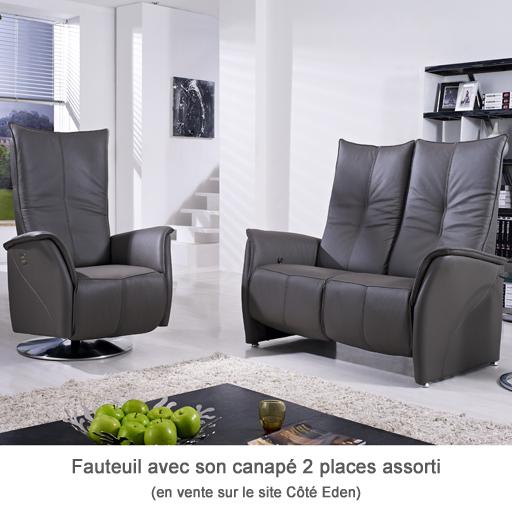 Canapé Relaxation Electrique ou Manuel Cotelit 2 places 100% Cuir Italien