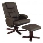Fauteuil relax manuel simili cuir brun rotation 360° densité 25kg/m3