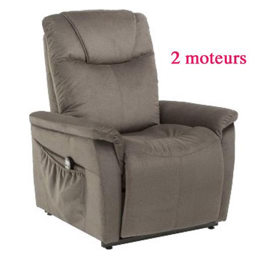 Fauteuil Releveur Relaxant Massant Chauffant imitation cuir 2 moteurs 1 télécommande