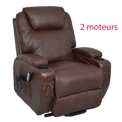 Fauteuil relax massant chauffant releveur cuir kalinka 2 moteurs - Fauteuil relax electrique massant ...