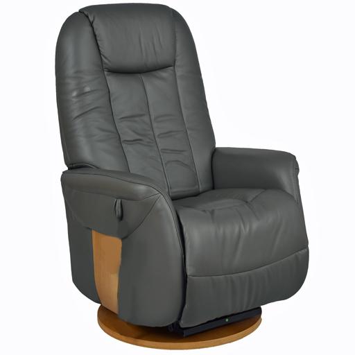 Fauteuil relax manuel design cuir et bois rotation 360°