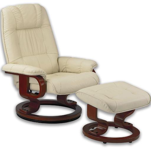 Fauteuil massant avec pouf en cuir pied pivotant de techniform - Fauteuil relax massant chauffant ...