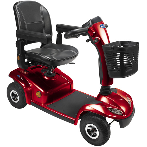 Scooter portable Invacare rouge 8 km/h autonomie 36km