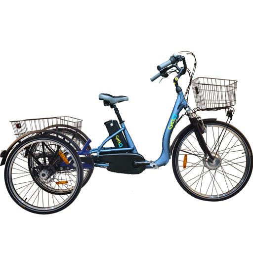 Vélo électrique 3 roues 10Ah démarrage 6km/h à différentiel frein disque autonomie 45km